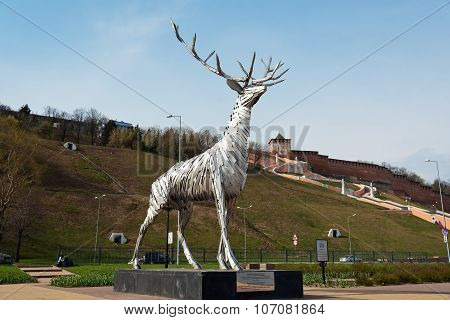 Metalic Sculpture, Deer, The Symbol Of Nizhny Novgorod