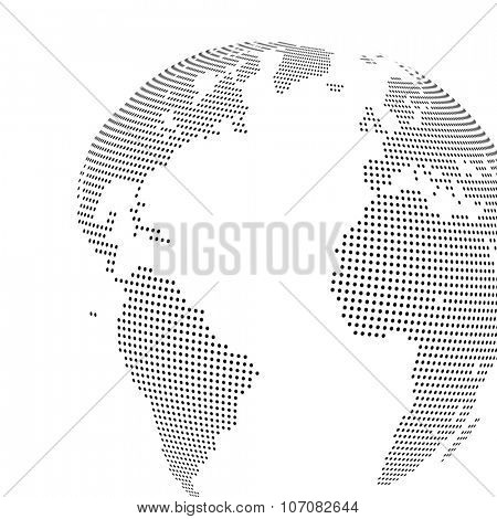 Abstract dotted globe, Central heating view on Atlantic ocean region