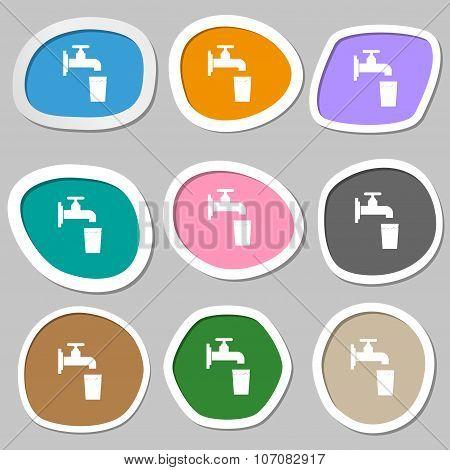 Faucet, Glass, Water Icon Symbols. Multicolored Paper Stickers. Vector