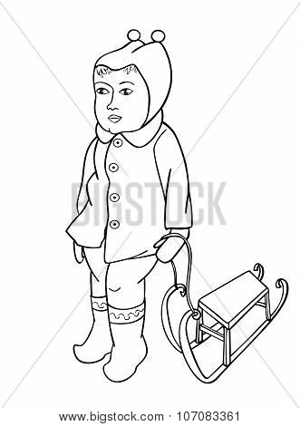 Baby Girl Stands With Sled. Page To Be Color Vector Illustration. Contour For Coloring Book.