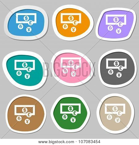 Currencies Of The World Icon Symbols. Multicolored Paper Stickers. Vector