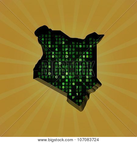 Kenya sunburst map with hex code illustration