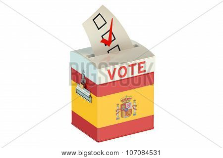 Ballot Box With Flag Of Spain