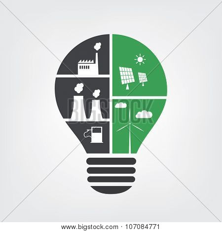 Think Green. Eco Friendly Ideas Vs. Polluting Actions In The Light Bulb Symbol - Background Concept Design