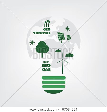Think Green. Eco Friendly Ideas In The Light Bulb Symbol - Background Concept Design