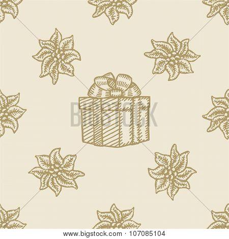 poinsettia christmas gift box flower pattern seamless background
