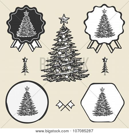 Christmas tree vintage symbol emblem label collection