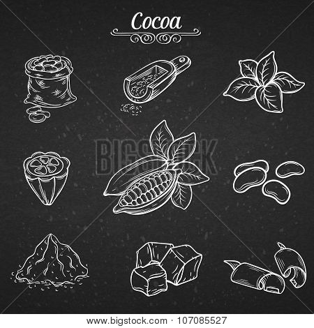 set hand draw decorative cocoa chocolate