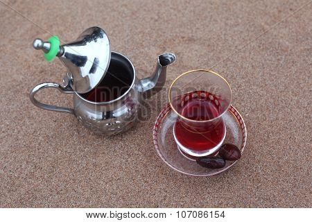 Arabic teapot with tea Hibiscus