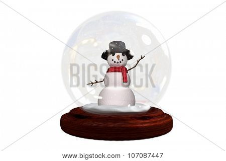 Happy snowman in snow globe on white background