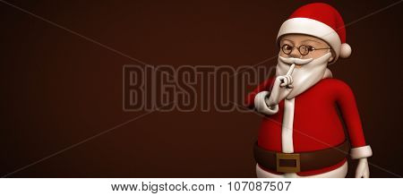 Cartoon santa asking for quiet against white background with vignette