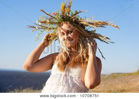 The girl in a wreath