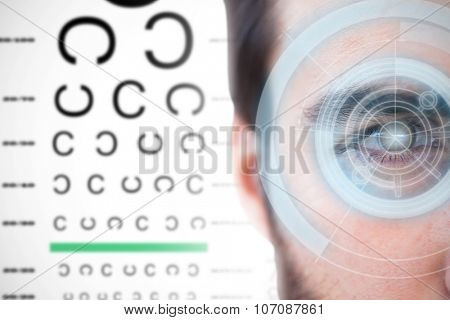 Close up of focused businessman against dial interface