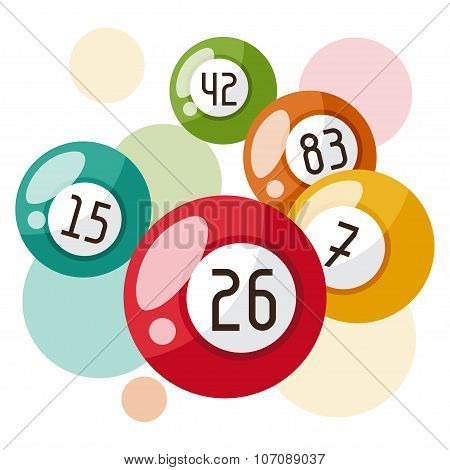 Bingo or lottery game illustration with balls