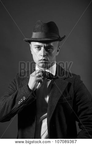 Handsome Man In Suit And Hat