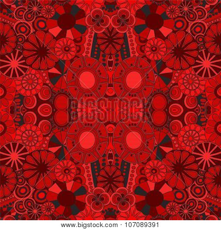 Stock Vector Seamless Floral Red Doodle Pattern.