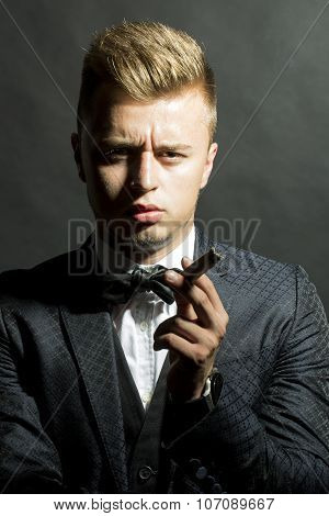 Portrait Of Sexy Man With Cigar