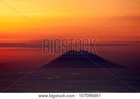Stromboli Volcano At Sunset
