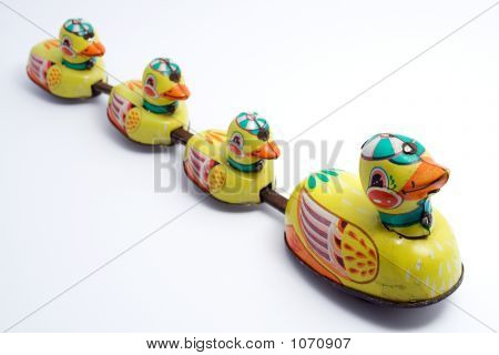 Toy Ducks In A Line