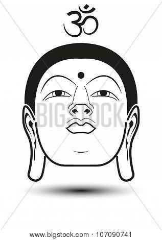 Head Of Buddha With Om Mantra