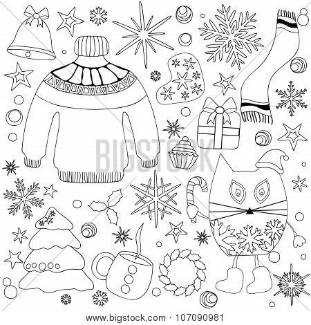 Winter Season Doodle Set - Snowflakes,tree. Bell. Boot. Star,sweet.