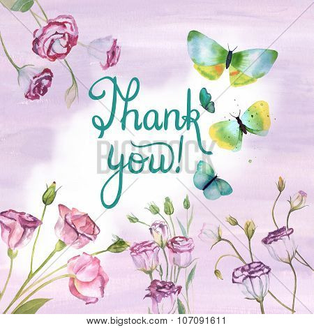 'thank You' Watercolor Card With Butterflies And Flowers