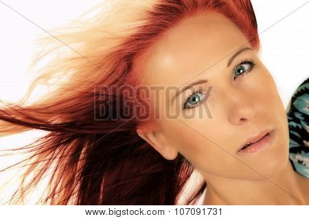 Woman Head Close Red And Blonde Hair