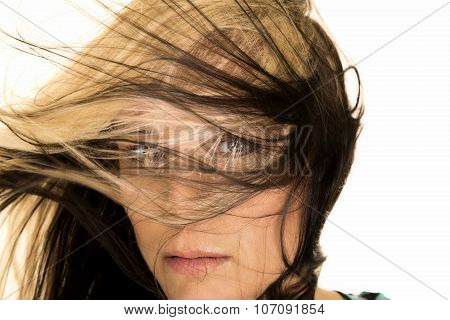 Woman Head Close With Hair In Face Front