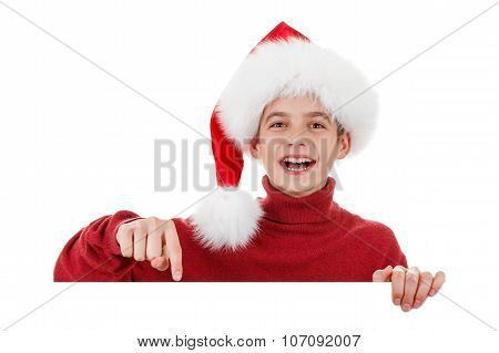 Christmas, Xmas laughing Santa showing blank billboard sign