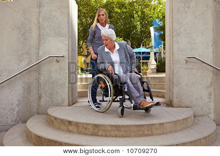 Disabled Woman Is Mad At Staircase