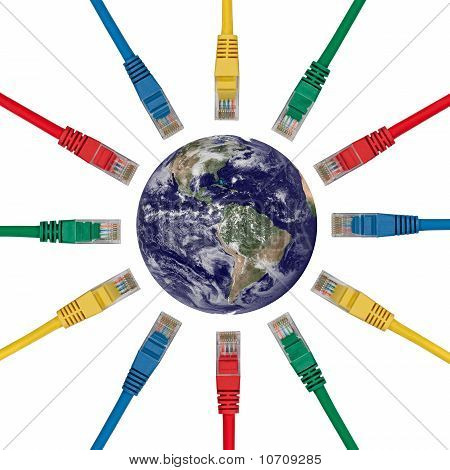 Network Plugs Pointing To An Earth's Western Hemisphere