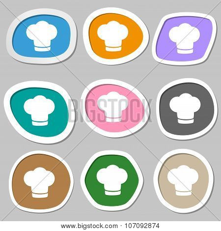 Chef Hat Sign Icon. Cooking Symbol. Cooks Hat. Multicolored Paper Stickers. Vector