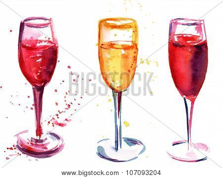 A set of flute glasses with rose and white sparkling wine, watercolor drawings on white background