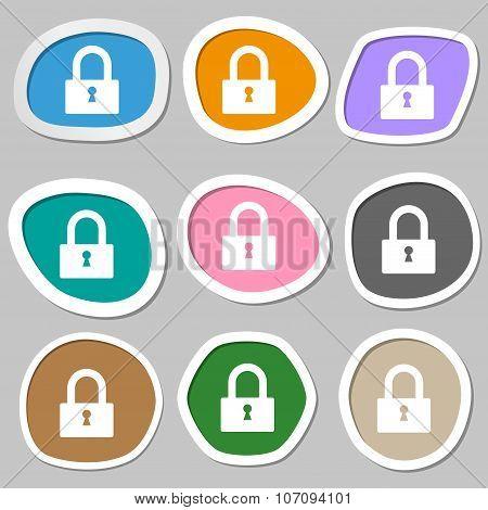 Lock Sign Icon. Locker Symbol. Multicolored Paper Stickers. Vector