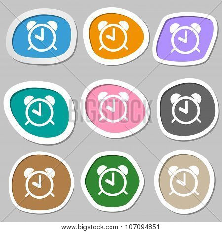 Alarm Clock Sign Icon. Wake Up Alarm Symbol. Multicolored Paper Stickers. Vector