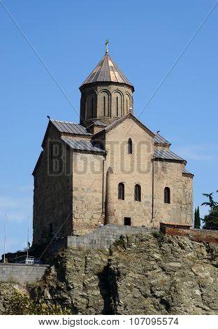 Metekhi Church Of Assumption In Tbilisi, Built By The Georgian King St Demetrius Ii, Famous Landmark