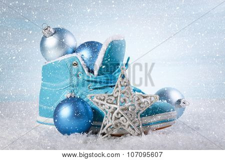 Christmas background with boots and Christmas decorations
