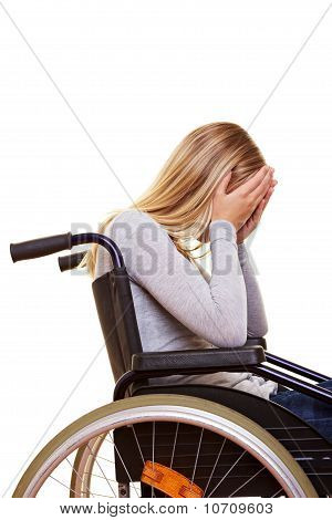 Sad Disabled Woman Crying