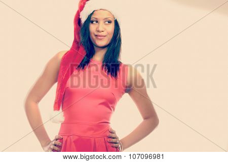 Woman Mixed Race Santa Helper Hat Portrait