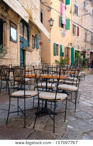 Kotor, Montenegro, October, 30, 2015: Cafe in the old town of Kotor, Montenegro