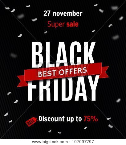 Black Friday Sale Design Template. Sale Inscription On Confetti Background. Sale Banner