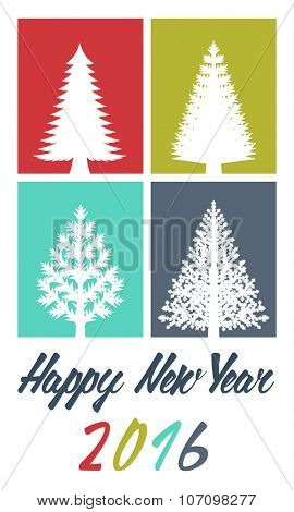 New Years greeting card. Flat design illustration of various types of Christmas trees on colored background.