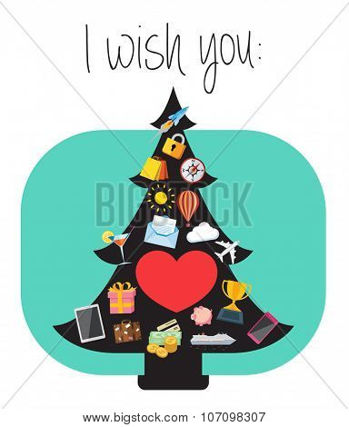 Illustration of best wishes for the New Year greeting card. Flat design illustration of Christmas tree decorated with icons that are symbols of best wishes.