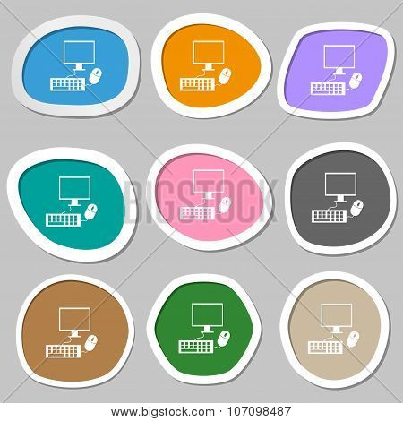 Computer Widescreen Monitor, Keyboard, Mouse Sign Icon. Multicolored Paper Stickers. Vector