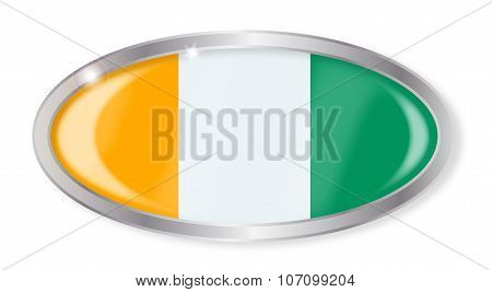 Ivory Coast Flag Oval Button
