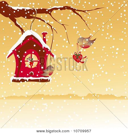Christmas greeting robin bird wallpaper