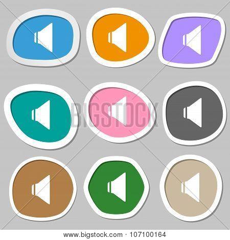 Speaker Volume Sign Icon. Sound Symbol. Multicolored Paper Stickers. Vector
