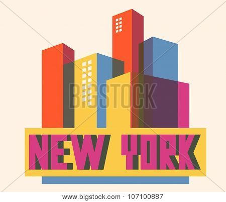 New York beautiful city in world. Vector illustration