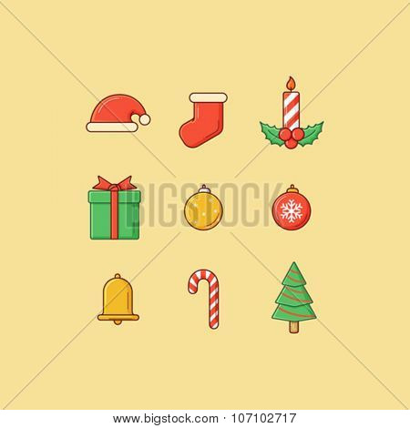 Set of colorful simple christmas icon