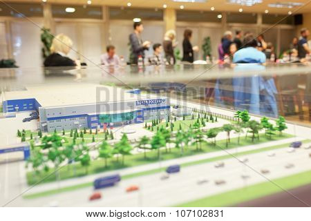 ST. PETERSBURG, RUSSIA - OCTOBER 30, 2015: 3D model of the automated mail sorting center of Russian Post. Russian Post is a strategic enterprise with 42,000 post offices and 351,000 employees